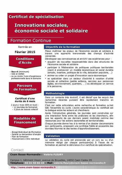 - Certificat de spécialisation : Innovations sociales, économie sociale et solidaire - Cnam Basse-Normandie | L'actualité sur l'emploi, les métiers et la formation dans l'ESS | Scoop.it