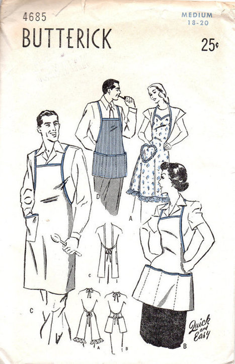 Butterick 4685 Sewing Pattern 1940s Unisex BBQ Cooking Apron Full Smock Size Medium Sweetheart Neck Multi Pockets | Vintage Sewing Patterns | Scoop.it