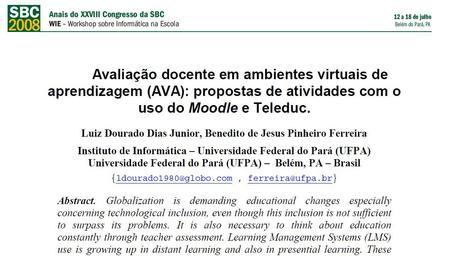 Avaliação docente em ambientes virtuais de aprendizagem (AVA): propostas de atividades com o uso do Moodle e Teleduc   Communities of Practice (CoP)   Scoop.it