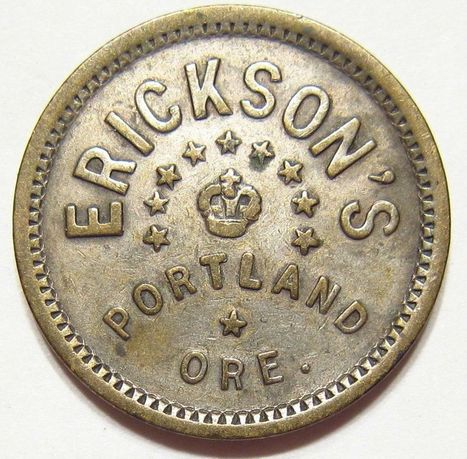 Antique ERICKSON'S Famous Old West SALOON Portland OREGON 9 stars 5c TRADE TOKEN | Coins Tokens & Medals | Scoop.it