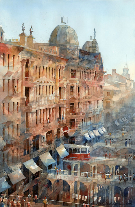#Architectural #Watercolors of a #Dreamlike #Warsaw by Tytus Brzozowski. #industrial #landscapes #art | Luby Art | Scoop.it