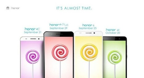 Les Honor 4C, 6, 6 Plus et 4X recevront Lollipop à partir de fin septembre en Inde - FrAndroid | Geeks | Scoop.it