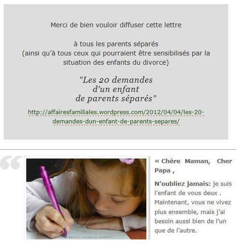 Les 20 demandes d'un enfant de parents séparés | JUSTICE : Droits des Enfants | Scoop.it