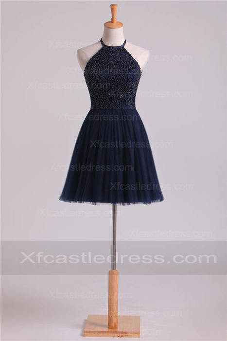 2016 Halter Neck Pearls Short Navy Homecoming Dresses with Pleated Skirt | women fashion dresses | Scoop.it