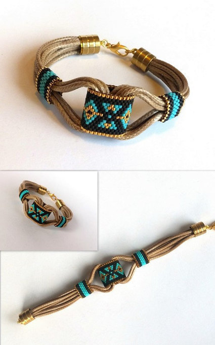 Delica Beaded Bracelet, Boho Bracelet, Peyote Bracelet, Spring Bracelet, Leather Bracelet, Gold Plated Delica Beads,  Summer Bracelet | My Jewelrys | Scoop.it