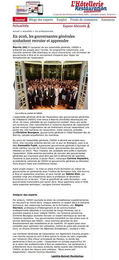 L'AG de Biarritz vu par l'Hôtellerie : À l'occasion de son assemblée générale, l'AGGH a présenté ses projets pour l'année. http://bit.ly/1SHKQYi | AGGH - Association des gouvernantes générales de l'hôtellerie | Scoop.it