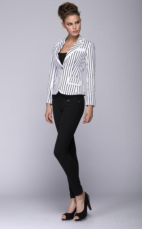 $ 61.79 Fashion Tailored Collar One-Button Pockets Striped Blazer   the fashion clothes shoes dress bags   Scoop.it