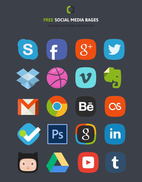 The Social Media Badges Icon Set – Free Editable PSD | Digital Marketing | Scoop.it
