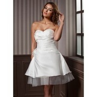 [£ 70.57] A-Line/Princess Sweetheart Knee-Length Taffeta Tulle Wedding Dress With Ruffle Flower(s) (002011637)   wedding dress   Scoop.it