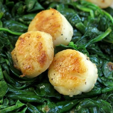 Seared Scallops over Wilted Spinach #WeekdaySupper - The Dinner-Mom | food | Scoop.it