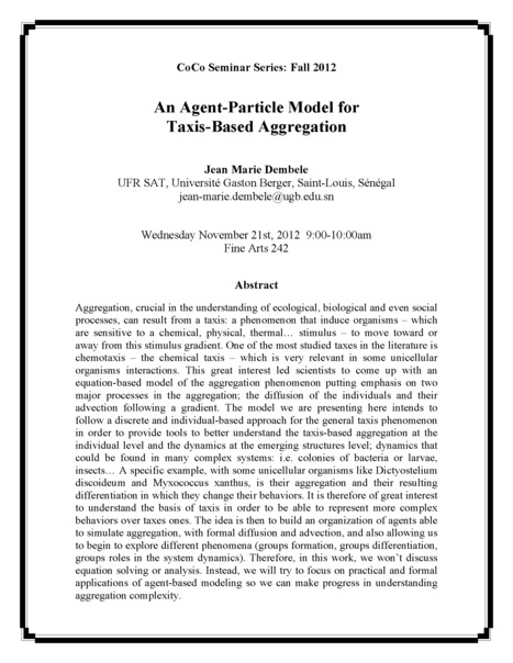 """CoCo Seminar: """"An Agent-Particle Model for Taxis-Based Aggregation"""" 