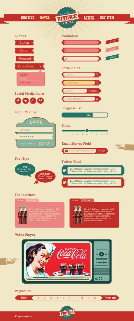 Vintage Pixels - Free UI Kit | Web Design Freebies | Scoop.it