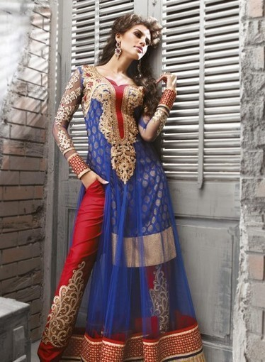 Pant Style Blue Anarkali In Net with Moti,Resham GF7140222, Purchase online now | Anarkali Suit | Scoop.it