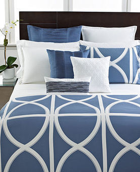 Hotel Collection Modern Transom Blue Collection - Bedding Collections - Bed & Bath - Macy's | Blue and White Bedding | Scoop.it