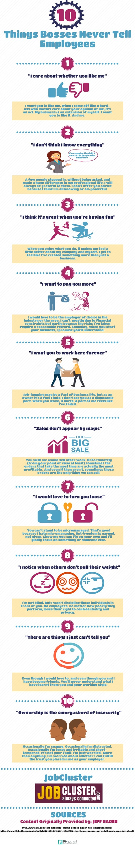 10 Things Bosses Will Never Tell Employees [INFOGRAPHIC] | Latest Career News & Advice | Scoop.it