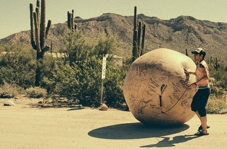 Testicular cancer survivor quit job and sold his home to roll giant ball across America | #ensw diversions - questionably relevant, edgy fodder to brighten your enterprise slog | Scoop.it