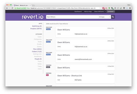 Revert keeps daily, searchable backups of all your cloud services so you can have peace of mind | Technological Sparks | Scoop.it