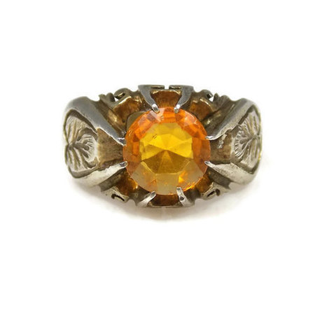 Art Deco Citrine Sterling Silver Band Ring Heart Leaf Floral Design November Birthstone Size 9 | Vintage Jewelry | Scoop.it