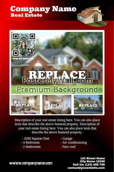 Featured property - Real estate flyer with QR code - Red on PosterMyWall | QR CODE TEMPLATES | Scoop.it