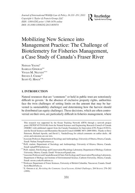 Mobilizing New Science into Management Practice: The Challenge of Biotelemetry for Fisheries Management, a Case Study of Canada's Fraser River | Using Wildlife Survey Data | Scoop.it