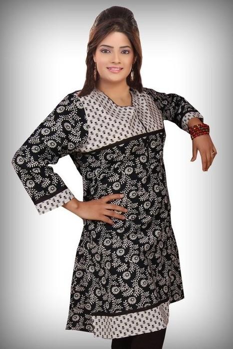 Buy Cotton Designer Black Kurti Online | KURTIS | Scoop.it
