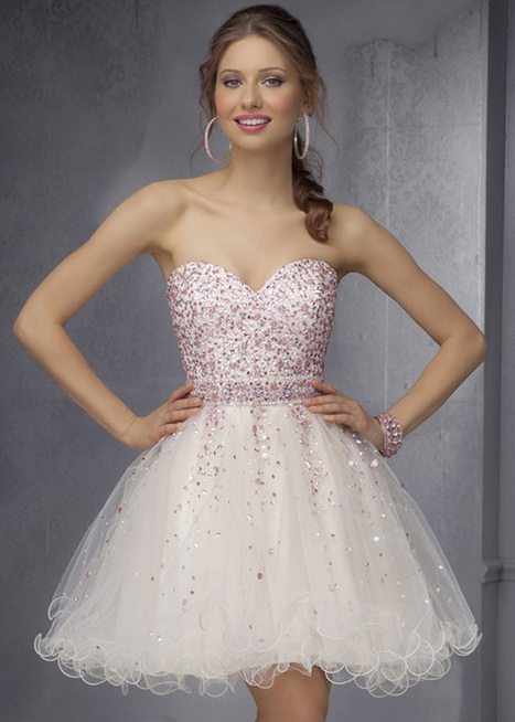 Champagne Strapless Mori Lee 9286 Beaded Short Party Dress [Mori Lee 9286] - $171.98 : Cheap Prom Dresses & Homecoming Dresses For Sale Online | prom dresses | Scoop.it
