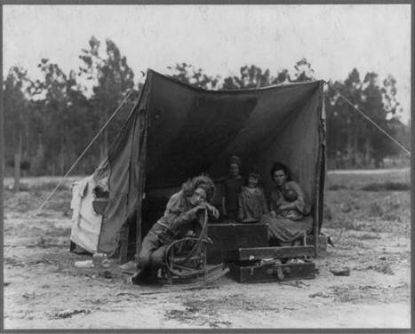 Primary Document I of a Photo        Migrant agricultural worker's family. Seven hungry children. Mother aged thirty-two. Father is native Californian. Nipomo, California | The Dust Bowl By:Jm | Scoop.it