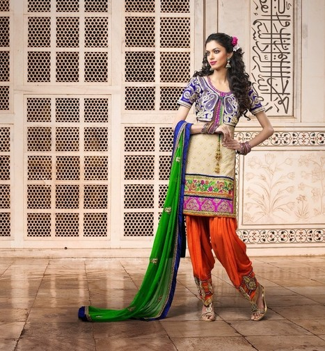 Gravity Fashion - Exquisite Bige Brown & Royal Blue Salwar Kameez | If loving Fashion is a Crime, We Plead Guilty | Scoop.it