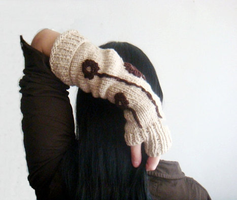PDF KNITTING PATTERN Rustic Hand Warmers Fingerless Gloves with Crochet Flowers | Adventures with Hand Knits | Scoop.it