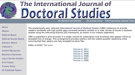 International Journal of Doctoral Studies | e-learning y aprendizaje para toda la vida | Scoop.it