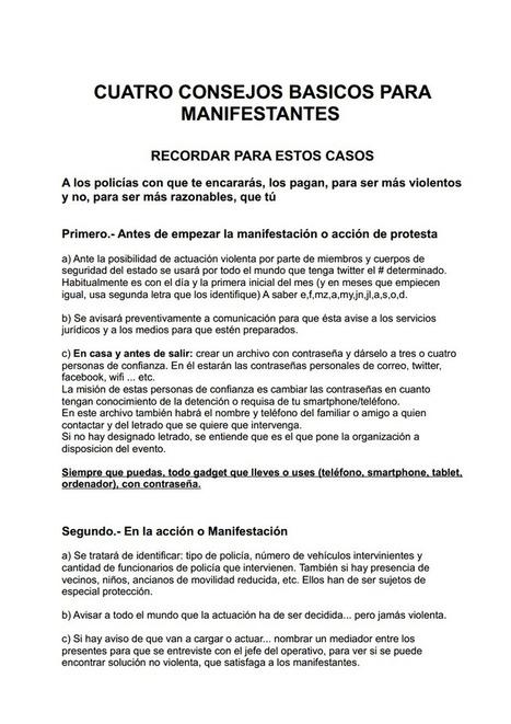 Cuatro consejos básicos para manifestantes.pdf | Yo  mismo | Scoop.it