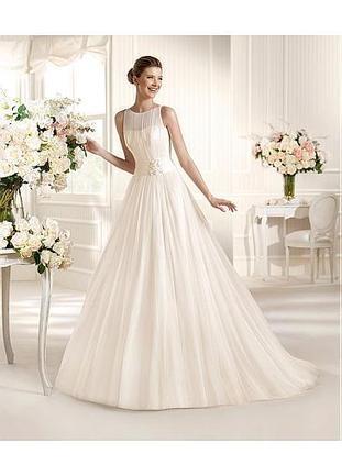[189.99] Alluring Tulle & Satin Jewel Neckline Natural Waistline A-line Wedding Dress - Dressilyme.com | Wedding dresses | Scoop.it