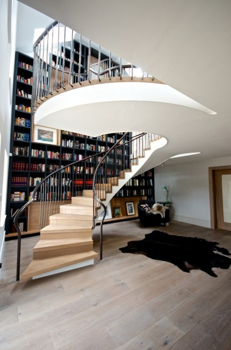 Massive Staircase Design Incorporating a Floor-to-Ceiling Bookcase | Inspired By Design | Scoop.it