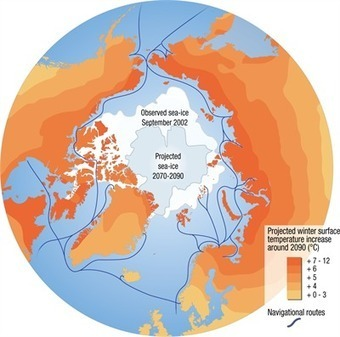 Projected changes in the Arctic climate, 2090 - with shipping routes | UNEP/GRID-Arendal - Maps & Graphics library | Coordenadas | Scoop.it