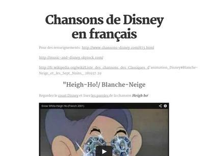 Chansons de Disney en français | FLE enfants | Scoop.it