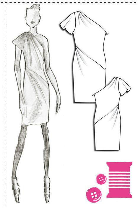 Designer Pattern: One Sleeve Asymmetric Dress | design - Art | Scoop.it
