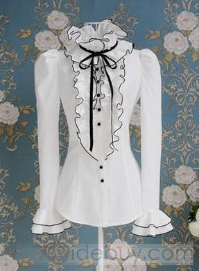 Beautiful White Falbala Black Ribbon Bow Puff Long-sleeve Satin Shirt | men's fashion | Scoop.it