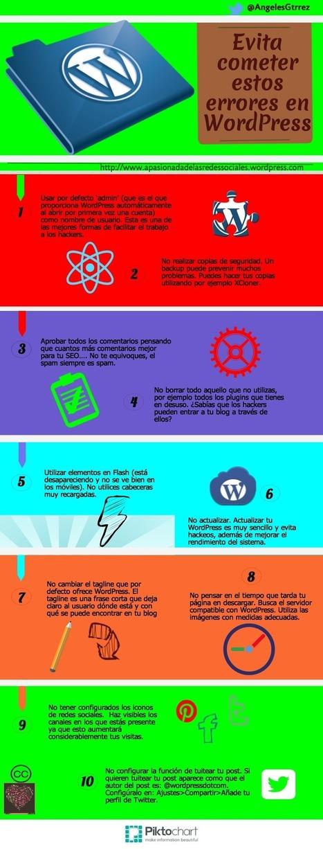 Evita cometer estos errores en WordPress #infografia #infographic #socialmedia | Seo, Social Media Marketing | Scoop.it