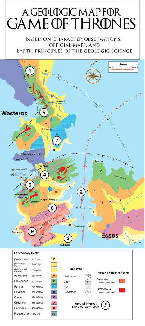 Map - The geology of Game of Thrones | Ms. Postlethwaite's Human Geography Page | Scoop.it