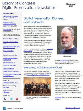 November Library of Congress Digital Preservation Newsletter Now Available | The Signal: Digital Preservation | Curaduria de contenidos y Preservacion digital | Scoop.it