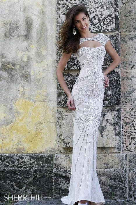 Sherri Hill 11180 Beaded Cap Sleeves Evening Long Dresses [Sherri Hill 11180] - $420.00 : www.cutehomecomingdresses2014.com | women fashion dresses | Scoop.it