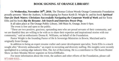 'Meet the Authors,' A Booksigning for Pastor Keith D. Wright Sr. and Torin Ellis at The Orange Public Library, Orange, NJ | Society and culture | Scoop.it