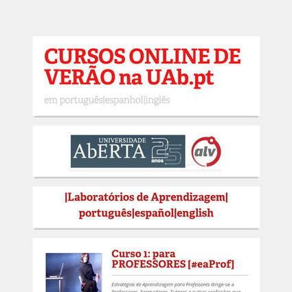 CURSOS ONLINE DE VERÃO na UAb.pt | Online Networked Learning | Scoop.it