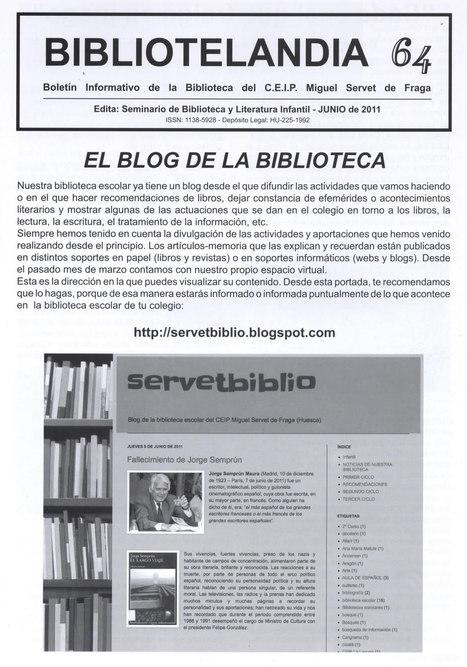 Bibliotelandia: boletín informativo de la Biblitoeca del C.E.I.P. Miguel Servet de Fraga. | Bibliotecas escolares para curiosos | Scoop.it