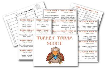 Turkey Trivia Scoot | Seasonal Freebies for Teachers | Scoop.it