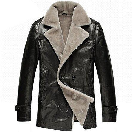 CWMALLS® Men Black Sheepskin Pea Coat CW878418 | Fur Lined Mens Coat | Scoop.it