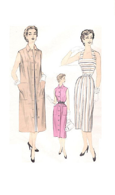 1950s Sewing Pattern Advance 6727 Halter Neck Wiggle Dress Sleeveless Coat Button Front Duster | Vintage Sewing Patterns | Scoop.it