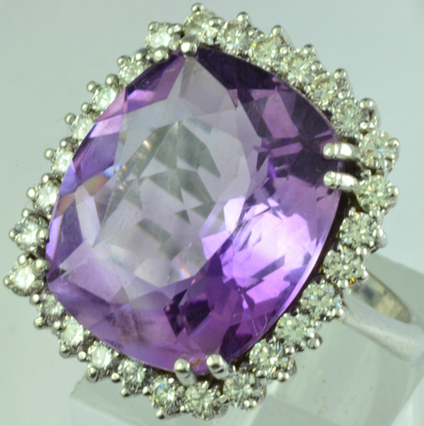 18ct White Gold 13ct Amethyst 1ct Diamond Dress Ring | Engagement Rings | Scoop.it