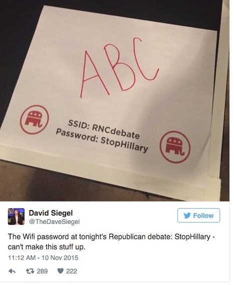 "#WiFi password at Republican debate is ""StopHillary"" 