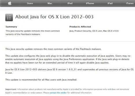 About Java for OS X Lion 2012-003 | Apple, Mac, iOS4, iPad, iPhone and (in)security... | Scoop.it